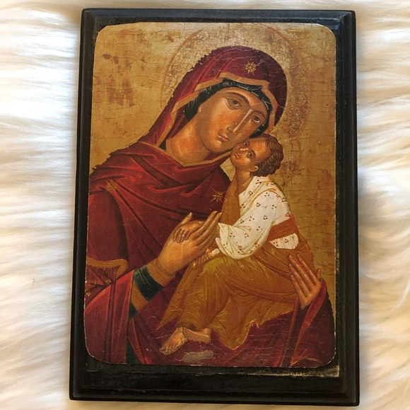 Vintage Other - VTG Religious Icon Wood Wall Plaque Mary & Jesus